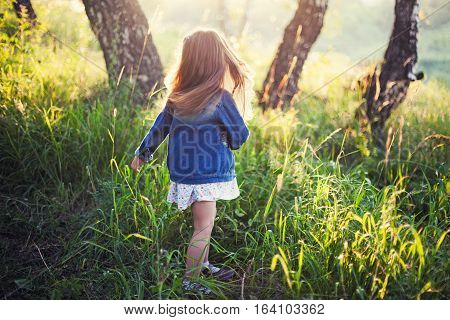 Little girl with long hair running meadow sunset. View from back
