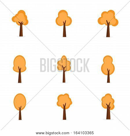 Set of orange trees vector collection stock