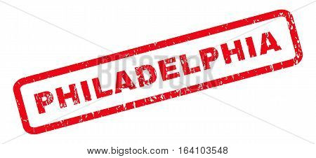 Philadelphia text rubber seal stamp watermark. Tag inside rounded rectangular banner with grunge design and dust texture. Slanted glyph red ink emblem on a white background.