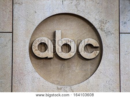 New York August 30 2016: The ABC company logo on the ABC office builing in Manhattan.