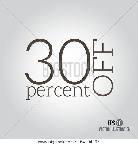 30% sale. Price off icon with 30 percent discount.