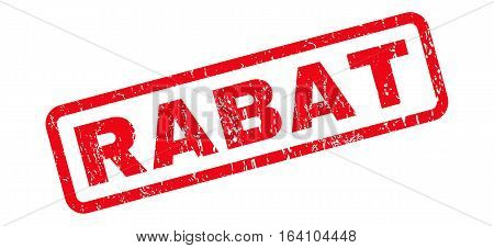 Rabat text rubber seal stamp watermark. Caption inside rounded rectangular shape with grunge design and unclean texture. Slanted glyph red ink emblem on a white background.