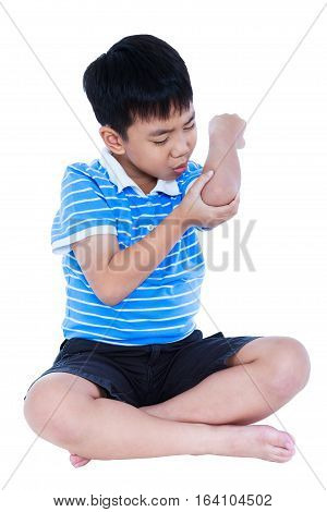 Full Body Of Asian Child Injured At Elbow. Isolated On White Background.