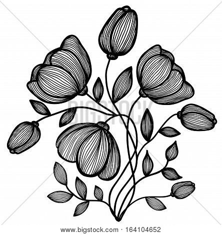 beautiful abstract black-and-white flower of the lines. Single isolated on white. Many similarities to the author's profile