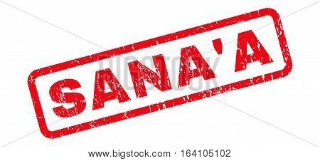 Sana'A text rubber seal stamp watermark. Caption inside rounded rectangular banner with grunge design and scratched texture. Slanted glyph red ink sticker on a white background.