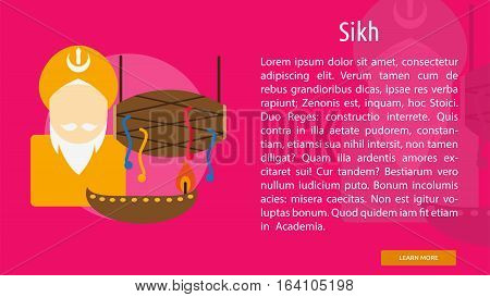 Sikh Conceptual Banner | Great flat illustration concept icon and use for Religious, event, holiday, celebrate and much more.