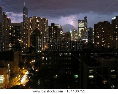 Lightning Bolt over Chicago during a Thunderstorm