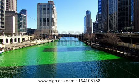 Dying of the Chicago River Green on St. Patrick's Day