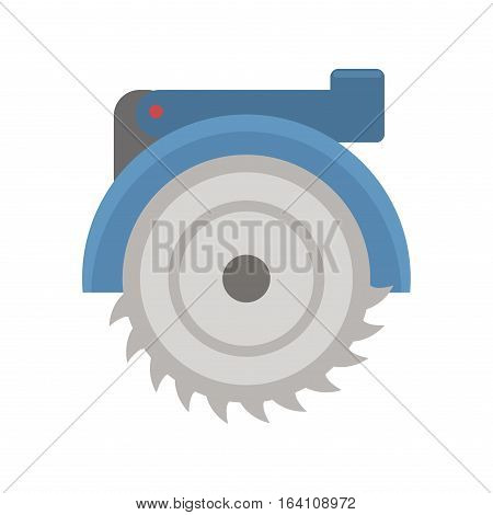 New powerful circular saw on white background. Construction carpentry circle electricity flat instrument. Steel power machine work industry vector.