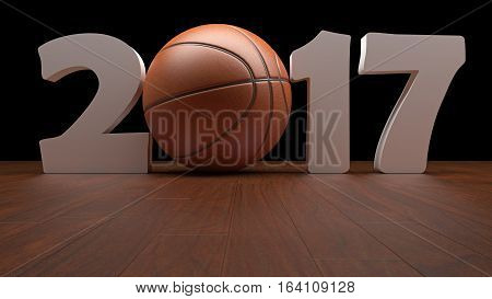 Realistic rendering of basketball And text 2017 basketball season Beginning from 2017