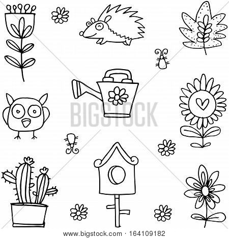 Flower set spring of doodles collection stock