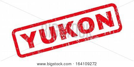 Yukon text rubber seal stamp watermark. Caption inside rounded rectangular banner with grunge design and unclean texture. Slanted glyph red ink sign on a white background.
