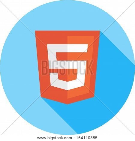 HTML5, code, program icon vector image. Can also be used for social media logos. Suitable for mobile apps, web apps and print media.