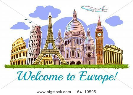 Colored europe buildings travel poster with building of  the main attractions of Europe vector illustration