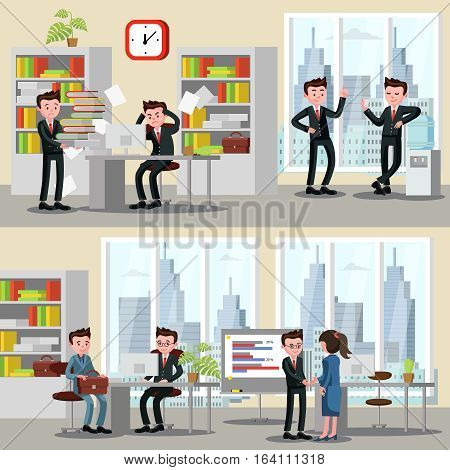 Office people horizontal banners with consultation collaboration relaxation and stress situations at work vector illustration