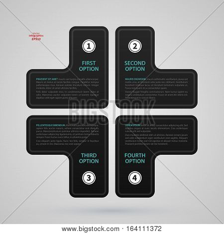 Modern Web Design Template With Cross Made Of Four Options. Strict Corporate Business Style. Useful