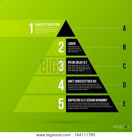 Pyramid Chart Template On Fresh Green Background. Vector Eps-10.