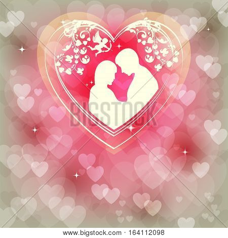 Design from the heart of lovers a boy and girl snuggled up to each other on the pink, delicate background
