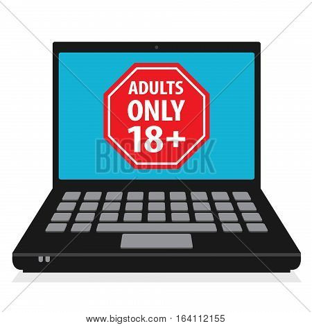 Laptop or notebook computer business concept with sign Adults Only 18+ vector illustration
