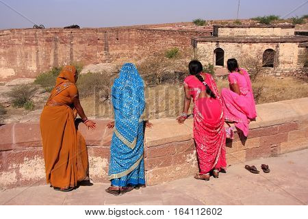Jodhpur, India - February 11: Unidentified Women Stand At  Mehrangarh Fort On February 11, 2011 In J