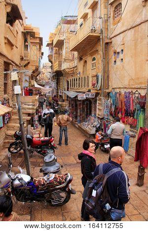 Jaisalmer, India - February 17: Unidentified People Walk In Narrow Street In Jaislamer Fort On Febru