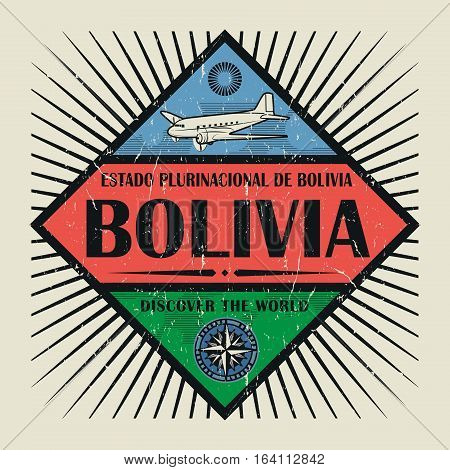 Stamp or vintage emblem with airplane compass and text Bolivia Discover the World vector illustration
