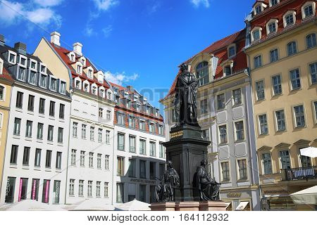 DRESDEN GERMANY - AUGUST 13 2016: Monument of Friedrich August King of Saxony at Neumarkt in Dresden State of Saxony Germany on August 13 2016.