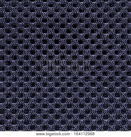 Deep blue fishnet cloth material texture background. Nylon texture. Nylon fabric. Nylon bag for background with copy space for text or image.