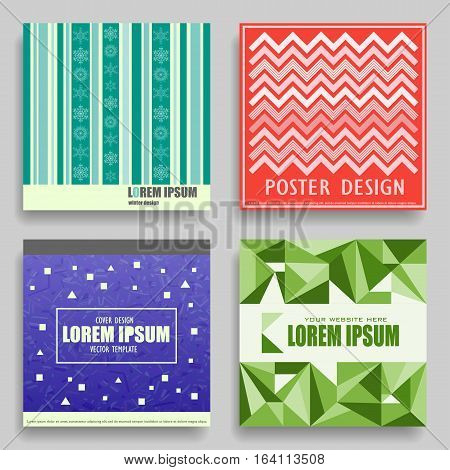 Set of vector square winter templates for posters flyers cards cd covers. Abstract New Year's color patterns with place for your text.