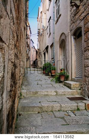 Narrow Street In Korcula Old Town, Croatia