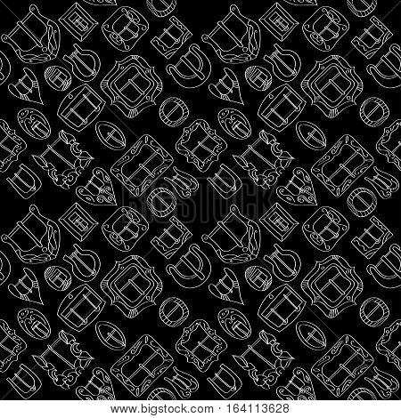 Vector seamless pattern of different vintage decorative metal buckles for belts and clothing. Thin white line on black background.
