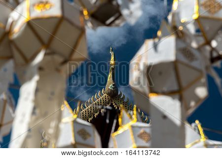 Roof gable Golden Thai style templeWat Phra That Hariphunchai temple with colorful lanterns FestivalLamphun or Lampoon province Thailand.
