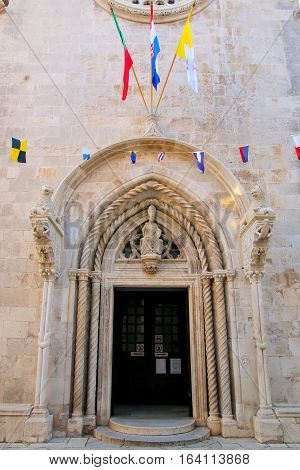 Cathedral Of Saint Mark Doorway In Korcula Old Town, Croatia