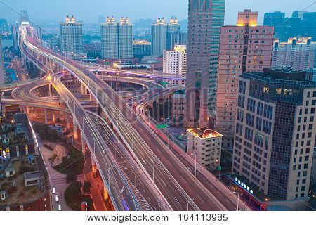 Aerial photography at city elevated bridge of night scene