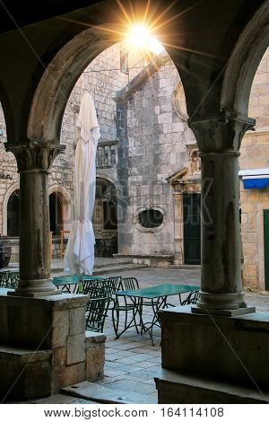 Square Of Antun And Stjepan Radic Seen From Revelin Tower Musem In Korcula Old Town, Croatia
