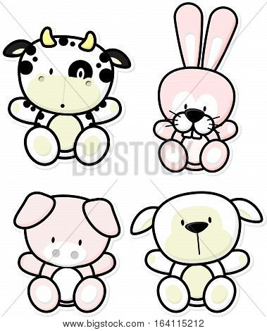 vector cartoon illustration of four baby farm animals isolated on white background ideal for children decoration
