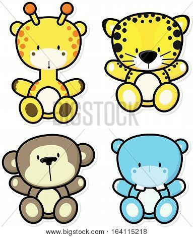 vector cartoon illustration of four baby jungle animals isolated on white background ideal for children decoration