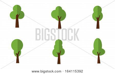 Illustration of green trees set collection stock