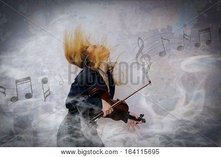 dramatic violin player smoke dark pain old