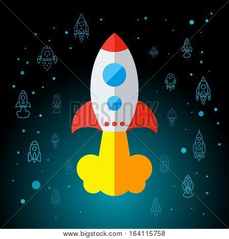Rocket In Space Flat Icon Isolated