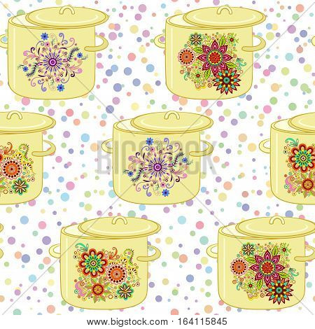 Seamless Background, Kitchen Pans with Different Floral Patterns. Vector