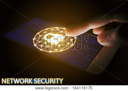 Cyber security network concept Man using smartphone with lock networking virtual screen.
