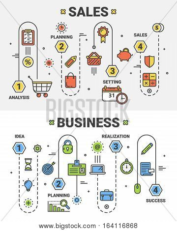 Vector set of Sales and Business concept banners. Linear schemes of Business and Sales processes with 4 steps. Thin line flat design infographic elements and icons for web, marketing and printing.