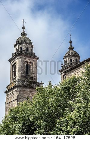 Spain Santiago de Compostela . Monastery of St. Francis and a monument to its founder St. Francis of Assisi .