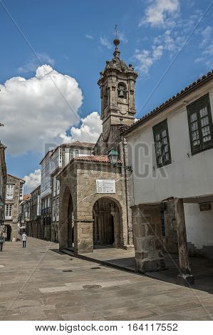Santiago de Compostela Spain. The twelfth century a small church in one of the narrow stone streets of the city near the cathedral .