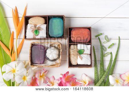 Soap Spa Gift Box On White Wood Background