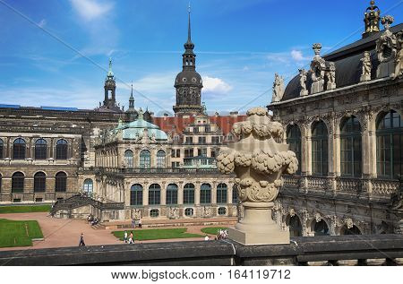 DRESDEN GERMANY - AUGUST 13 2016: Dresdner Zwinger rebuilt after the second world war the palace is now the most visited monument in Dresden Germany on August 13 2016.