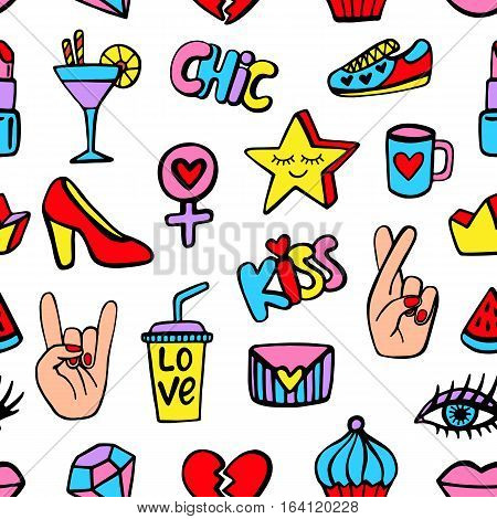 Seamless pattern with fashionable patch badges set, isolated on white background. Comic stickers, pins, patches doodle in cartoon pop art 80s-90s style. Vector illustration
