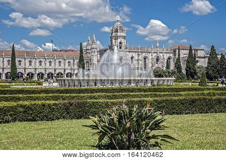 Portugal. Jeronimos Monastery in Lisbon's suburb Belem, Jeronimos - the most grandiose monument of late Gothic Manueline style of Portuguese architecture .
