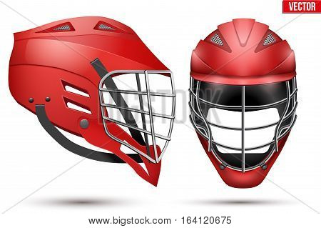 Red Lacrosse Helmet Set. Front and Side View. Sport goods and equipment. Vector Illustration isolated on white background.